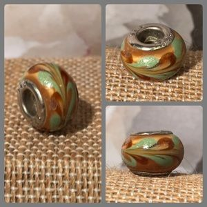 Jewelry - Sterling 925 Amber Gold Glass Bead Swirls Pandora